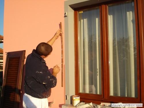 affreschi murali finestre finte : fEsecuzione di finta cornice bordo finestra